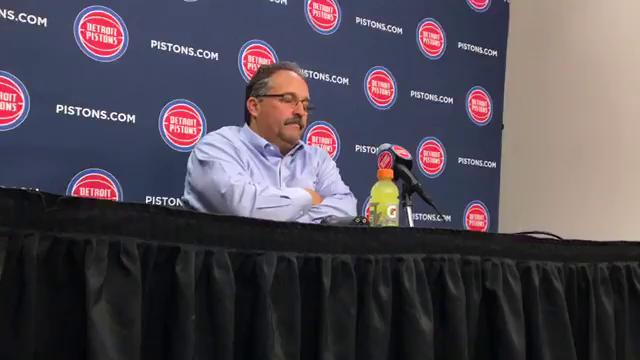 Detroit Pistons coach Stan Van Gundy speaks to the media after loss to the Philadelphia 76ers at Little Caesars Arena.