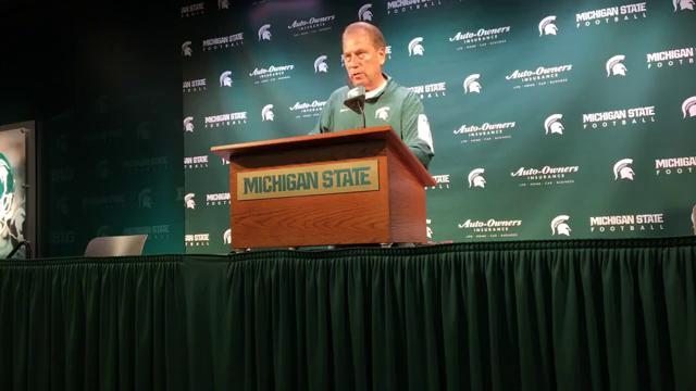 Michigan State basketball coach Tom Izzo talks to the media Oct. 24, 2017, before opening up exhibition season. By Chris Solari, DFP.