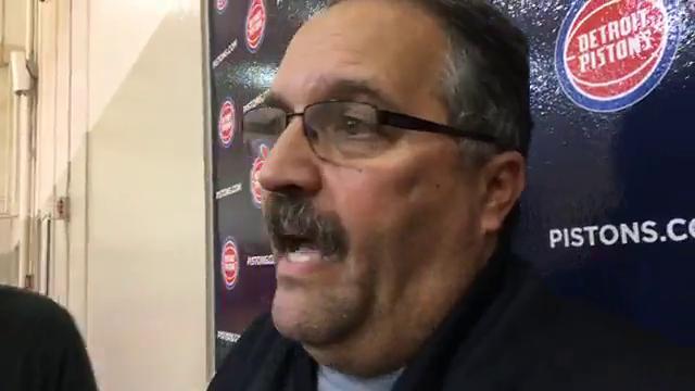 Detroit Pistons coach Stan Van Gundy talks with the media Oct. 24, 2017. By Vince Ellis, DFP.