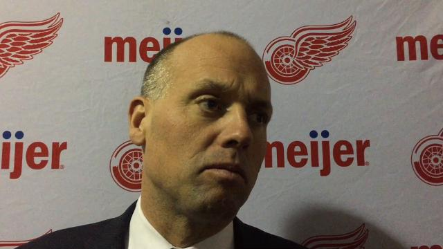 Red Wings players Henrik Zetterber and Jimmy Howard and coach Jeff Blashill answer questions Tuesday, Oct. 24 at KeyBank Center.