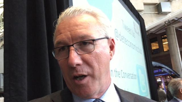 Detroit Lions president Rod Wood says he feels comfortable about Detroit's chances to host the 2019 or 2020 NFL draft while speaking at the Detroit Economic Club at Ford Field. Video by Carlos Monarrez/DFP