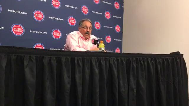 Pistons guard Stan Van Gundy fielded questions after the 122-101 win over the Timberwolves on Wednesday, Oct. 25, 2017, at Little Caesars Arena. Video by Vince Ellis/DFP