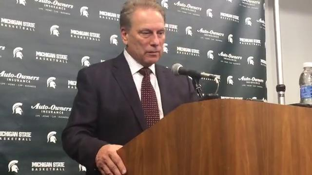 Michigan State coach Tom Izzo addresses the media after the 80-72 exhibition win over Ferris State on Thursday, Oct. 26, 2017, at Breslin Center. Video by Chris Solari/DFP