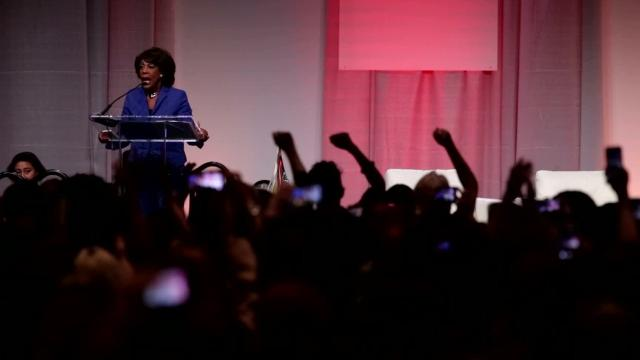 "Congresswoman Maxine Waters chants ""Impeach 45"" at the end of her speech"
