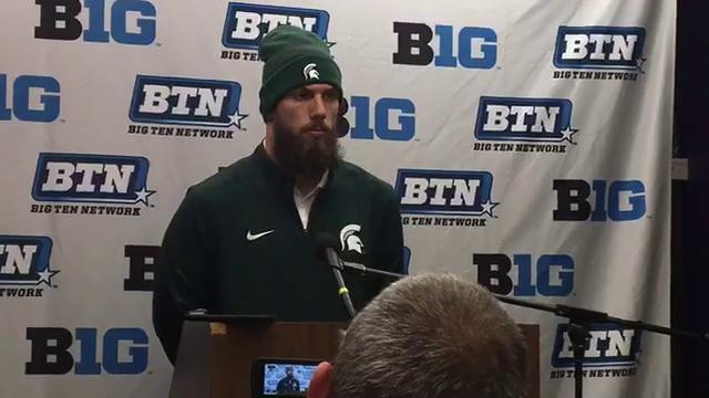 Michigan State linebacker Chris Frey talks about the 39-31 triple-overtime loss to Northwestern on Saturday, Oct. 28, 2017, in Evanston, Ill. Video by Chris Solari/DFP