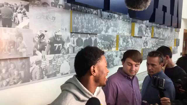 Michigan running back Karan Higdon fields questions on Monday, Oct. 30, 2017, in Ann Arbor. Video by George Sipple/DFP