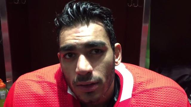 Detroit Red Wings forward Andreas Athanasiou and coach Jeff Blashill answer questions Tuesday, Oct. 31, 2017 at Little Caesars Arena. Video by Helene St. James, DFP.