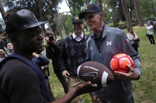 Jack Harbaugh talks about doing co-hosting a weekly podcast with his son, Michigan football coach Jim Harbaugh. Video by George Sipple/DFP