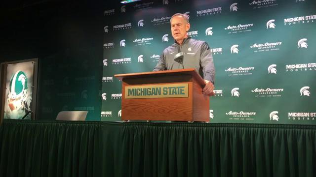 Michigan State coach Mark Dantonio held his weekly news conference on Tuesday, Oct. 31, 2017, in East Lansing. Video by Chris Solari/DFP