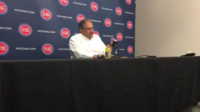 Pistons coach Stan Van Gundy discusses Andre Drummond's career night at the free-throw line and his improved maturity, and dissects the 105-96 win over Giannis Antetokounmpo and the Bucks on Friday, Nov. 3, 2017.