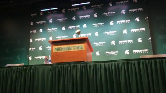 Michigan State Spartans postgame press conference after the Spartans win 27-24 over No. 7 Penn State Football.