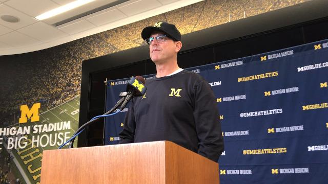 Michigan football coach Jim Harbaugh looks ahead to Maryland on Nov. 6, 2017, and says quarterback Brandon Peters will start. By Nick Baumgardner, DFP.