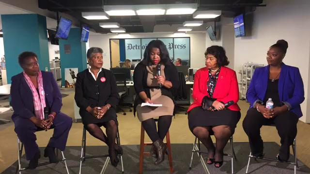 The Detroit Free Press hosts a debate between Detroit City Council at-large candidates Janee Ayers, Brenda Jones, Beverly Kindle-Walker and Mary Waters.