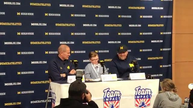 Michigan basketball, in association with Team IMPACT, welcomed 12-year-old Jude Stamper to its team Monday, Nov. 6, 2017. Stamper, from Monroe, has lived with Arthrogryposis Multi-Congenital Disorder (AMC) since birth.