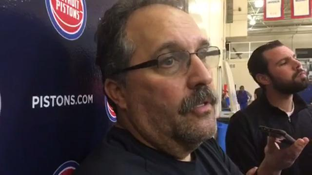 Detroit Pistons coach Stan Van Gundy gives a Jon Leuer (left ankle sprain) injury update and talks center Andre Drummond's evolution as a playmaker for the team's offense.