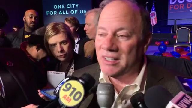 After securing his second term as Detroit mayor, Mike Duggan talks to the media at his victory party at the Renaissance Center in Detroit.
