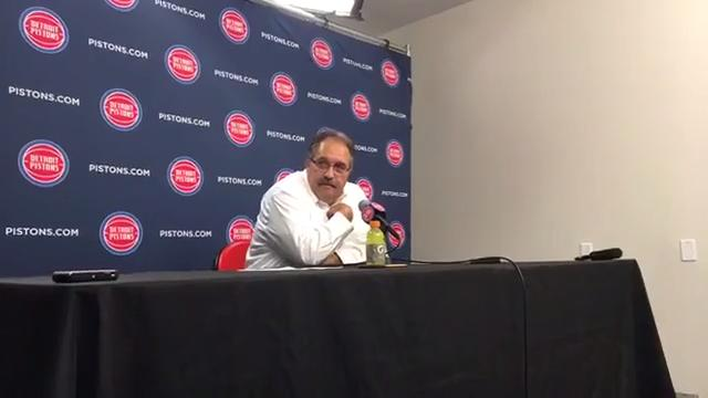 Detroit Pistons coach Stan Van Gundy talks during postgame press conference after defeating the Indiana Pacers on Wednesday, Nov. 8, 2017 at Little Caesars Arena.