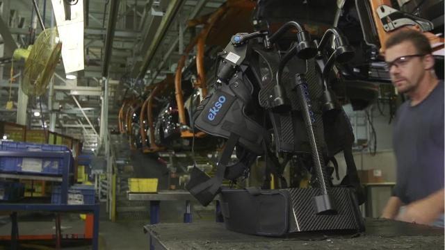 Ford workers use exoskeletal vest for overhead tasks