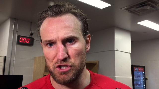 Red Wings players Henrik Zetterberg, Anthony Mantha and Niklas Kronwall  and coach Jeff Blashill answer questions after the Wings' 6-3 loss on Thursday, Nov. 9, 2017, at the Saddledome in Calgary, Alberta. Video by Helene St. James/DFP