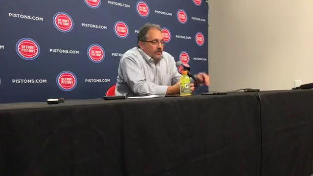 Pistons coach Stan Van Gundy answers questions after the 111-104 win over the Hawks on Friday, Nov. 10, 2017, at Little Caesars Arena. Video by Vince Ellis/DFP