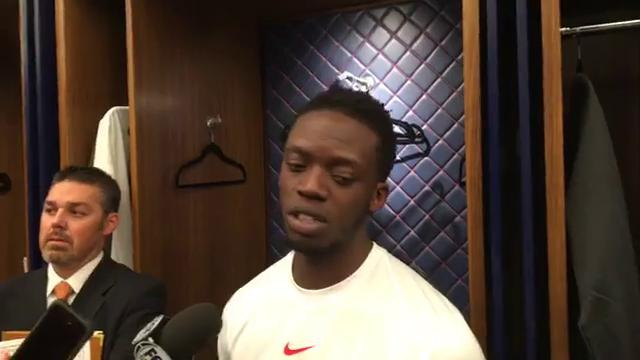 Pistons guard Reggie Jackson fields questions from the media after the 111-104 win over the Hawks on Friday, Nov. 10, 2017, at Little Caesars Arena. Video by Vince Ellis/DFP