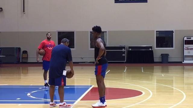 Pistons forward Stanley Johnson (hip flexor) works out after practice in Auburn Hills, Saturday, Nov. 11, 2017.