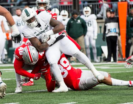The Michigan State Spartans lost a shot at a Big Ten title with a 48-3 loss at Ohio State on Saturday, Nov. 11, 2017, in Columbus, Ohio. Video by Chris Solari/DFP