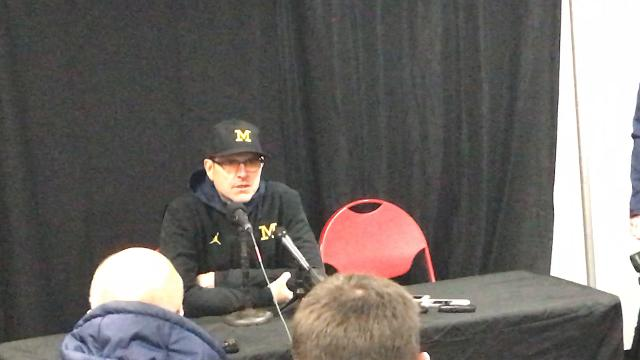 Michigan coach Jim Harbaugh answers questions from the media after the 35-10 win over Maryland on Saturday, Nov. 11, 2017, in College Park, Md. Video by Nick Baumgardner/DFP