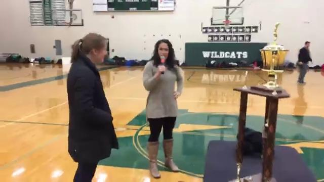 Novi High School pulls off a surprise with the announcement of the Miss Volleyball trophy winner, Erin O'Leary. O'Leary is a Michigan Wolverines signee. Recorded Monday, Nov. 13, 2017.