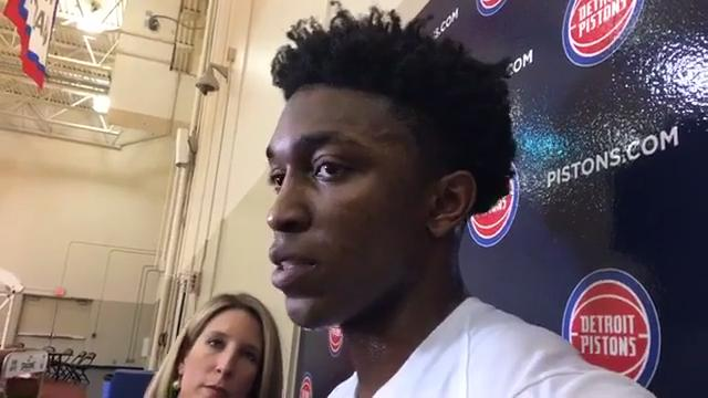 Stanley Johnson lauds Detroit Pistons coach Stan Van Gundy for his public stances in support of players' rights to kneel during the playing of the national anthem.
