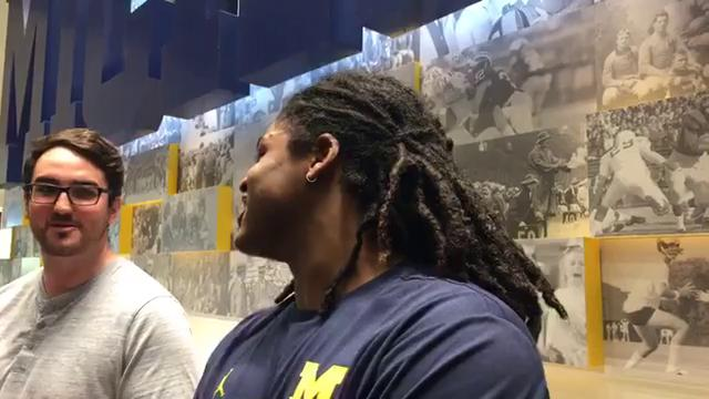 Michigan linebacker Devin Bush Jr. speaks to the media on Tuesday, Nov. 14, 2017, in Ann Arbor. Video