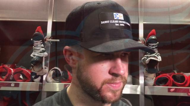 Detroit Red Wings defensemen Mike Green and coach Jeff Blashill answer questions Wednesday, Nov. 15, 2017 at Little Caesars Arena.