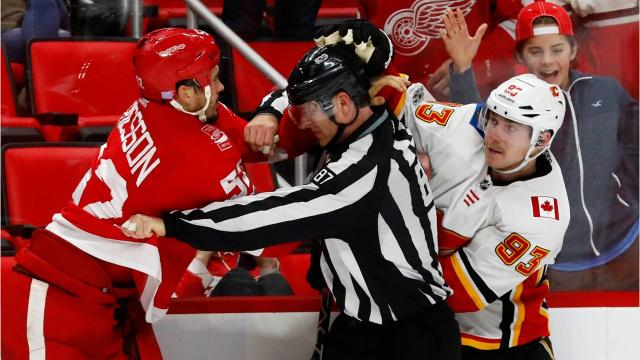 Brawls broke out between the Detroit Red Wings and Calgary Flames during the third period of a game the Wings would go on to win, 8-2.