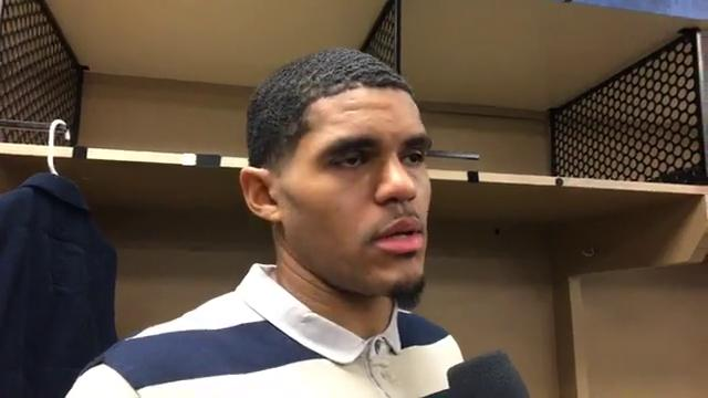 Pistons forward Tobias Harris fields questions after the 107-100 loss to the Pacers on Friday, Nov. 17, 2017, in Indianapolis. Video by Vince Ellis/DFP