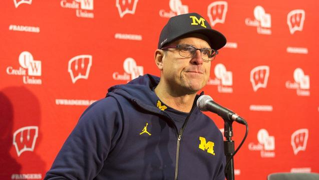 Jim Harbaugh recaps Michigan's 24-10 loss to undefeated Wisconsin on Saturday, Nov. 18, 2017 in Madison, Wis.