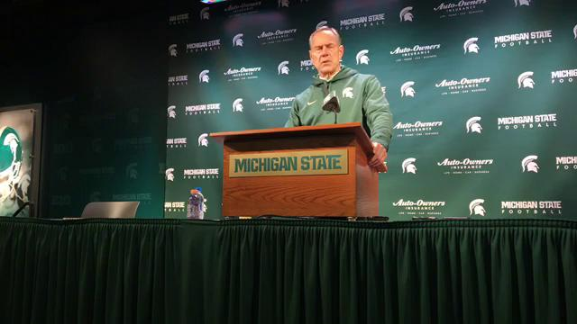 Michigan State coach Mark Dantonio shares his thoughts after the 17-7 win over Maryland on Saturday, Nov. 18, 2017, in East Lansing. Video by Chris Solari/DFP