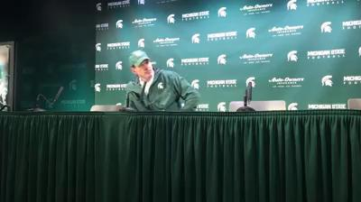 Michigan State co-offensive coordinator Dave Warner fields questions from the media after MSU's 17-7 win over Maryland on Saturday, Nov. 18, 2017, in East Lansing.