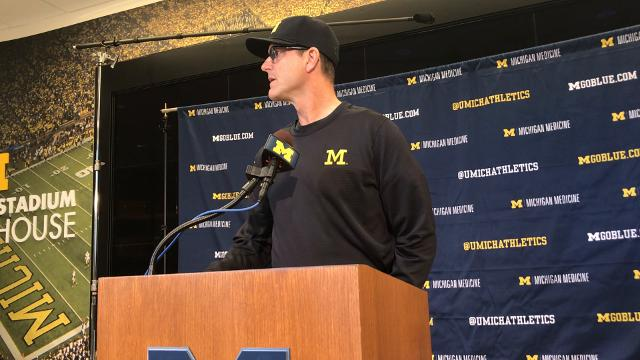 University of Michigan's Jim Harbaugh updates his QB situation ahead of Ohio State.