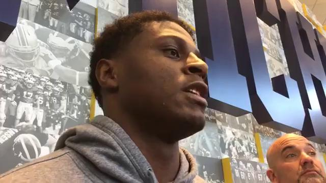 Michigan linebacker Mike McCray answers questions from the media on Monday, Nov. 20, 2017, in Ann Arbor. Video by George Sipple/DFP