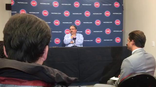 Pistons coach Stan Van Gundy takes questions from the media after the 116-88 loss to the Cavaliers on Monday, Nov. 20, 2017, at Little Caesars Arena. Video by Vince Ellis/DFP