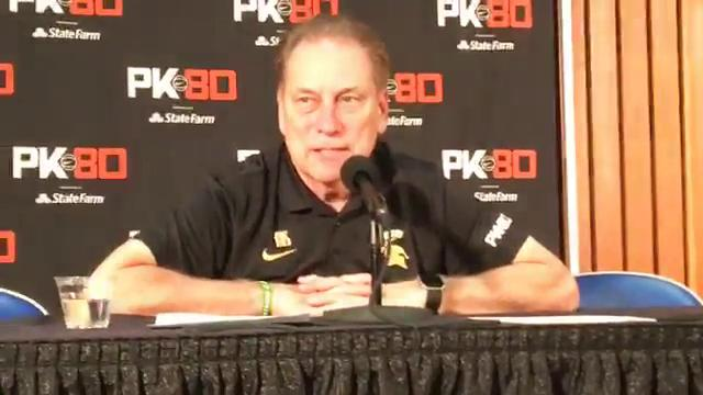 Michigan State coach Tom Izzo spoke to reporters after the 77-57 win over Connecticut in the PK80 Invitational on Friday, Nov. 24, 2017, in Portland, Ore. Video by Chris Solari/DFP