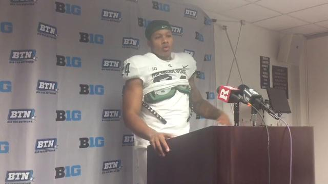 Michigan State running back Gerald Holmes addresses the media after the 40-7 win over Rutgers on Saturday, Nov. 25, 2017, in Piscataway, N.J. Video by Josh Mansour/Special to DFP