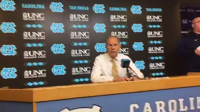Michigan basketball coach John Beilein answered questions after his team's loss to North Carolina in Chapel Hill on Nov. 29, 2017 in the B1G/ACC Challenge.