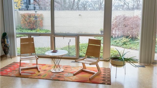 The Mid-Century Modern housing enclave Mies van der Rohe designed for Detroit's Lafayette Park has 184 units and this one is prime.