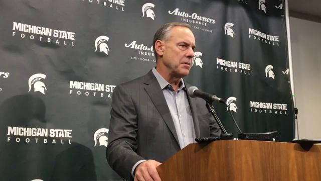 Michigan State coach Mark Dantonio reacts to his team's placement in the Holiday Bowl instead of the Outback Bowl, then discusses the Spartans' matchup with Washington State on Dec. 28 in San Diego. Recorded Dec. 3, 2017.
