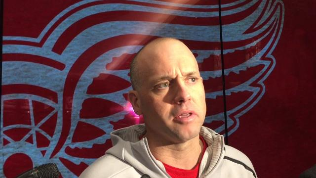 Detroit Red Wings coach Jeff Blashill answer questions Tuesday, Dec. 5, 2017, at Little Caesars Arena.