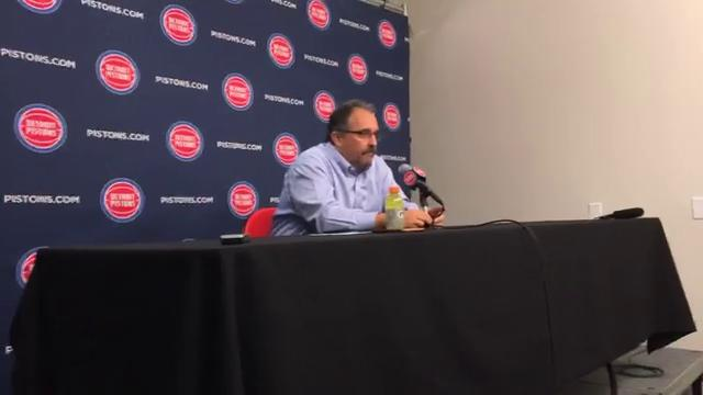 Stan Van Gundy reacts to the Pistons' sixth straight loss, this one 91-81 to the Celtics at Little Caesars Arena on Sunday, Dec. 10, 2017.
