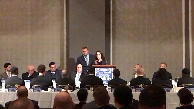 MSU offensive lineman Brian Allen was honored at the National Football Foundation/Free Press All-State Dream Team banquet Sunday, Dec. 10, 2017.