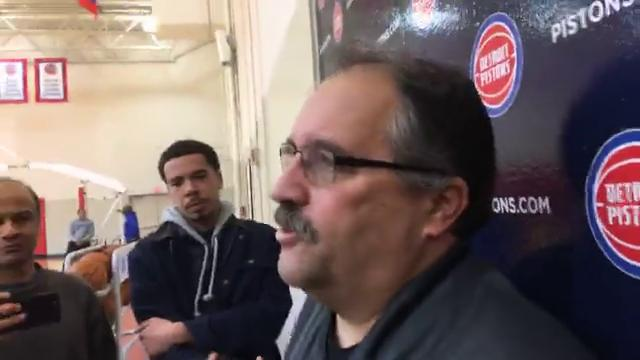 Pistons coach Stan Van Gundy, after practice Dec. 13, says the team gave in during its 103-84 loss to the Nuggets. He also discusses moving Stanley Johnson to the bench and whether he's worried about finger-pointing.