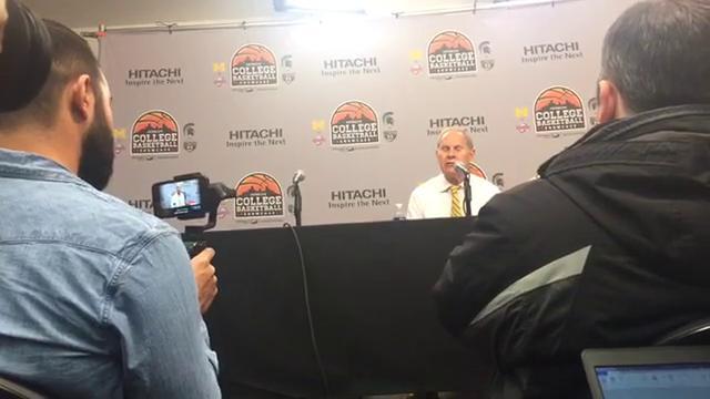Michigan's Duncan Robinson, John Teske and coach John Beilein discuss the Wolverines' 90-58 win over Detroit Mercy at Little Caesars Arena, Saturday, Dec. 16, 2017.